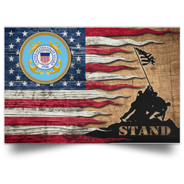 US Coast Guard Stand For The Flag Satin Landscape Poster