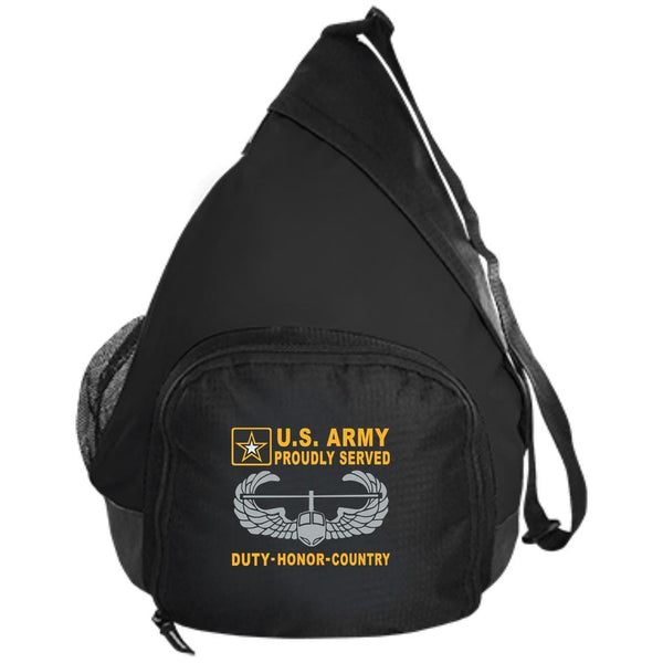 US Army Air Assault Wings Badge - Proudly Served-D04 Embroidered Active Sling Pack