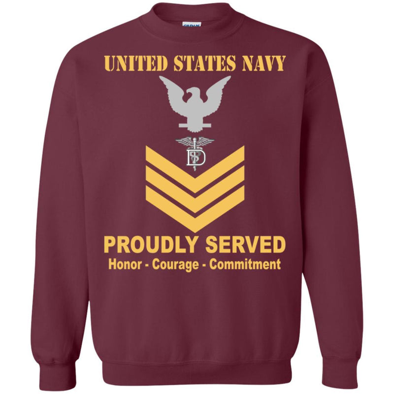 Navy Dental Technician Navy DT E-6 Rating Badges Proudly Served T-Shirt For Men On Front