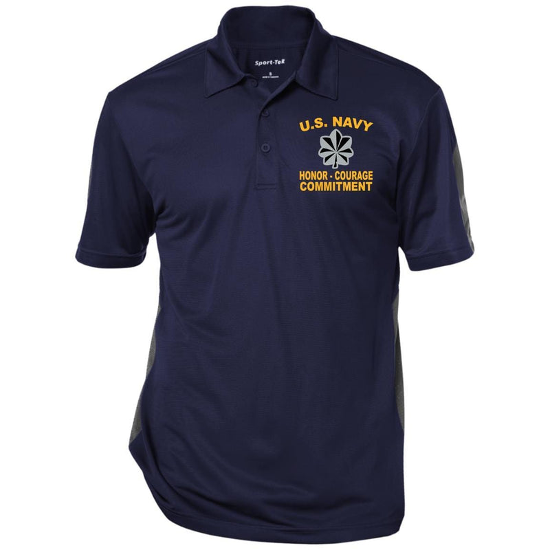 US Navy O-5 Commander O5 CDR Senior Officer Core Values Men Performance Polo Shirt