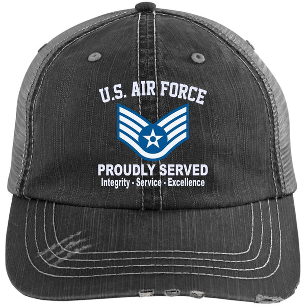 US Air Force E-5 Staff Sergeant SSgt E5 Noncommissioned Officer Core Values Embroidered Distressed Unstructured Trucker Cap