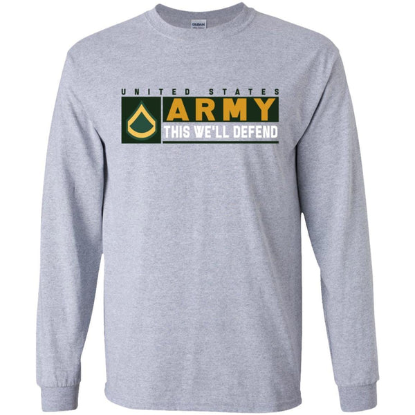 US Army E-3 Private First Class This We Will Defend Long Sleeve - Pullover Hoodie