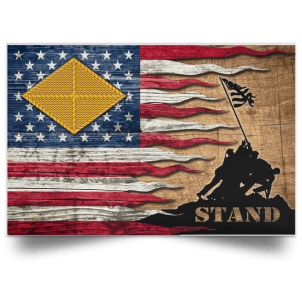US Army Finance Corps Stand For The Flag Satin Landscape Poster