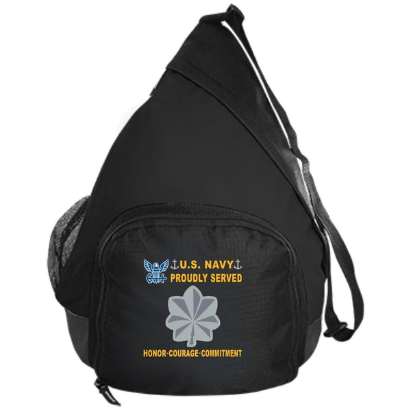 US Navy O-5 Commander O5 CDR Senior Officer Proudly Served-D04 Embroidered Active Sling Pack