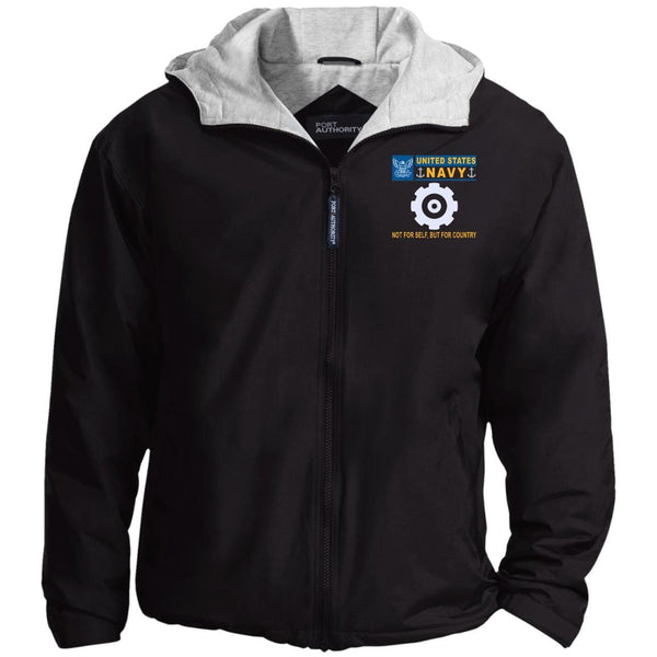US Navy Engineman EN- Not For Self, But For Country Embroidered - Fleece Lined Hooded  Team Jacket