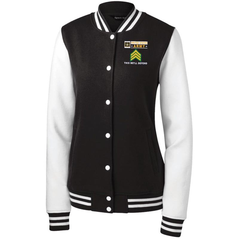 US Army E-5 Sergeant E5 SGT Noncommissioned Officer- This we'll defend Men/Women Sport-Tek® Fleece Letterman Jacket