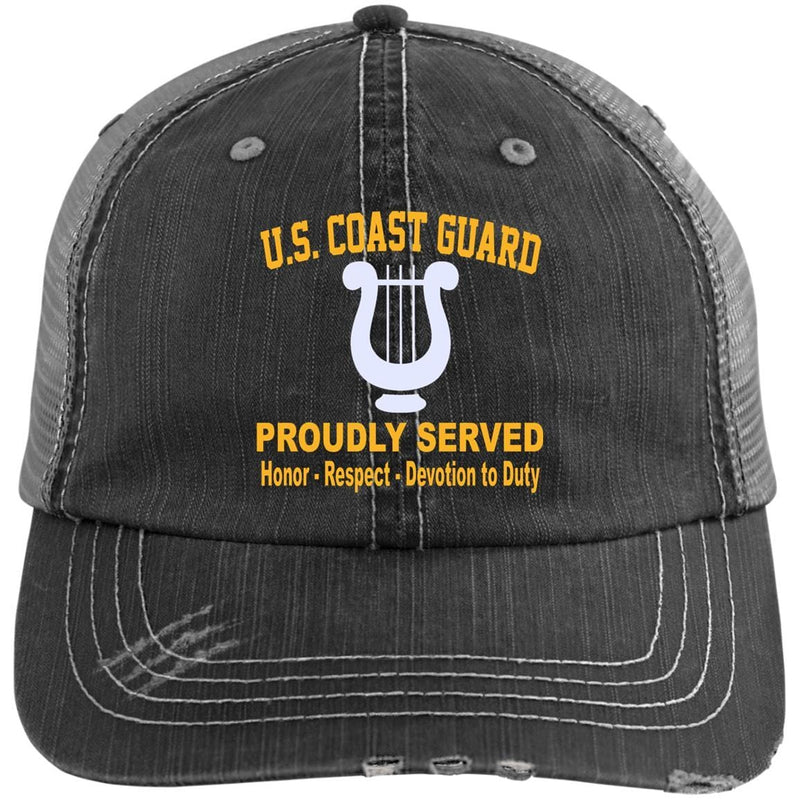US Coast Guard Musician MU Logo Embroidered Distressed Unstructured Trucker Cap