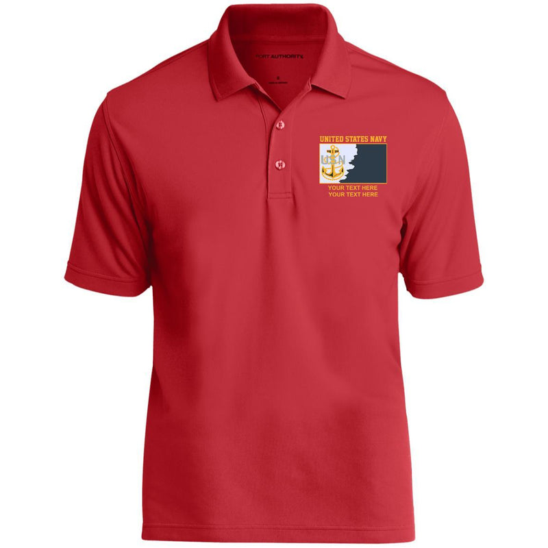 US Navy E7 - Chief Petty Officer CPO Rating Badge Personalized Embroidered Port Authority® Polo Shirt
