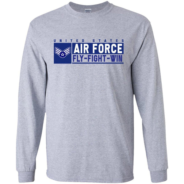 US Air Force E-4 Senior Airman Fly - Fight - Win Long Sleeve - Pullover Hoodie