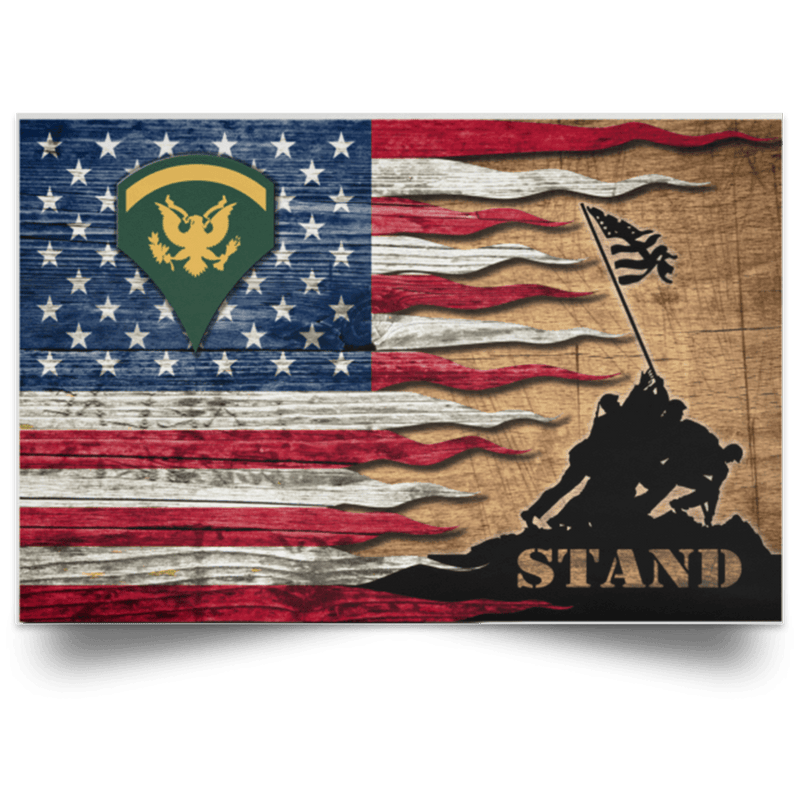 US Army E-5 SPC E5 SP5 Specialist 5 Specialist 2nd Class Stand For The Flag Satin Landscape Poster