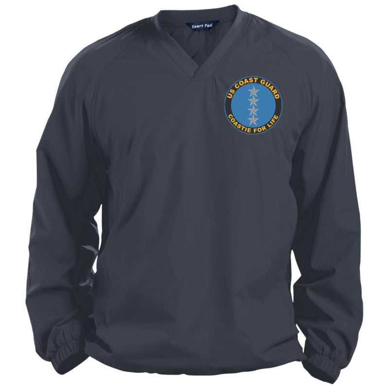 US Coast Guard O-10 Admiral O10 ADM Flag Officer Coastie For Life Embroidered Sport-Tek Pullover V-Neck Windshirt
