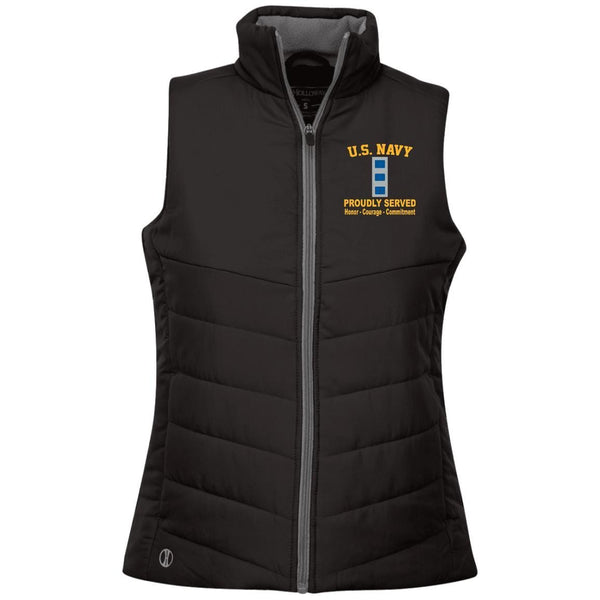 US Navy W-4 Chief Warrant Officer 4 W4 CW4 Warrant Officer Proudly Served Embroidered Holloway Ladies' Quilted Vest