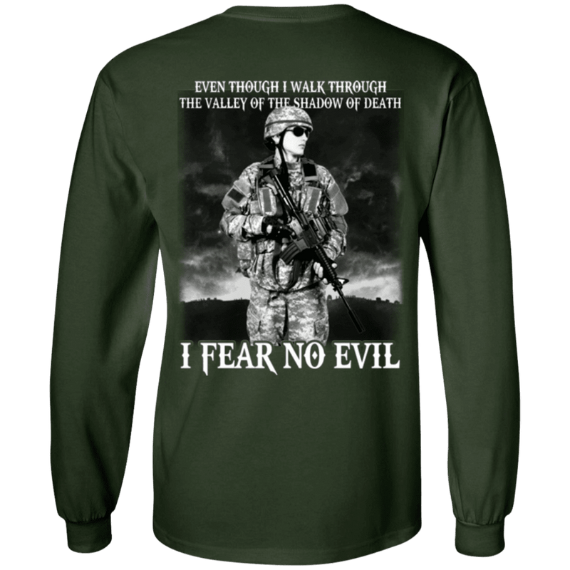 I Fear No Evil Female Veteran Design On Back T-Shirt