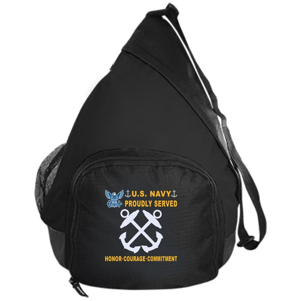 US Navy Boatswains Mate BM - Proudly Served-D04 Embroidered Active Sling Pack