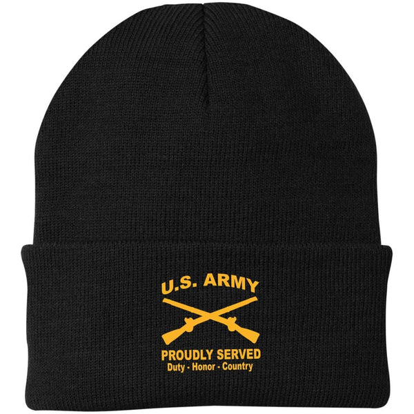 US Army Infantry Proudly Served Military Mottos Embroidered Port Authority Knit Cap