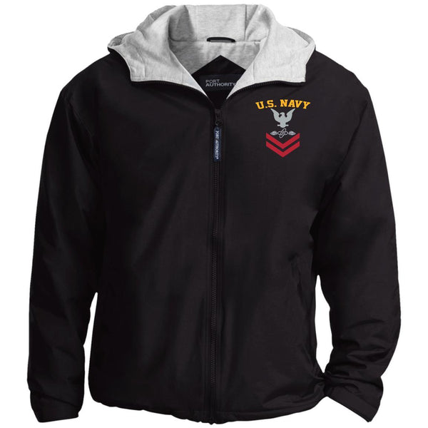 US Navy Aviation Electronics Technician AT E-5 Rating Badges Embroidered Port Authority® Hoodie Team Jacket