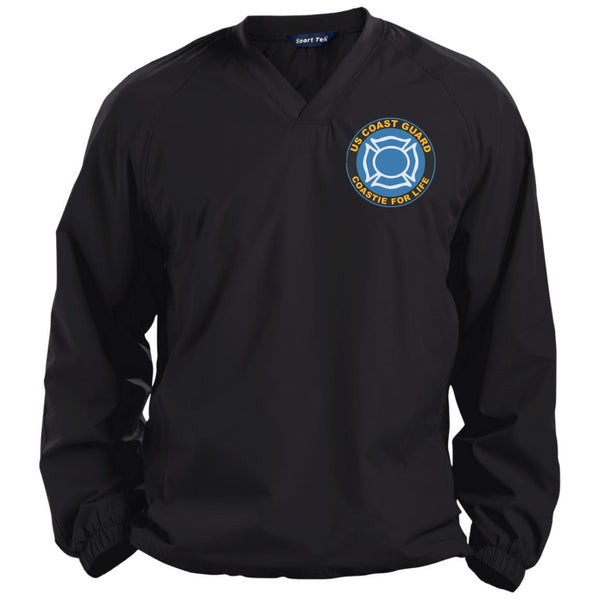 US Coast Guard Fire and Safety Specialist FF Coastie For Life Embroidered Sport-Tek Pullover V-Neck Windshirt