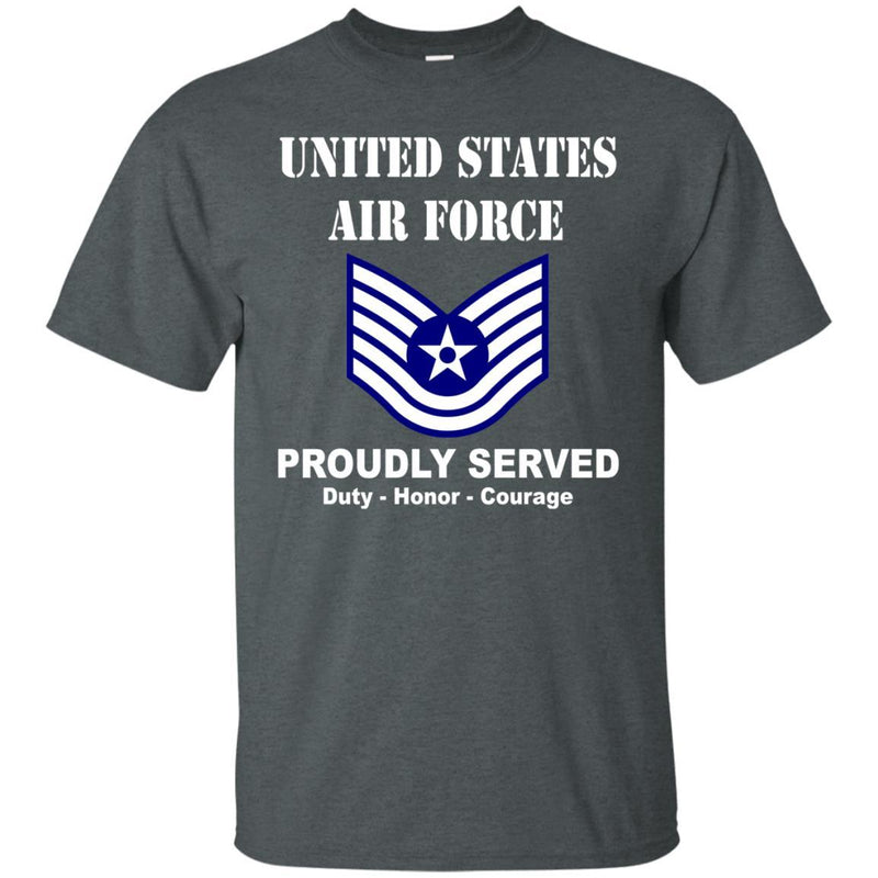 US Air Force E-6 Technical Sergeant TSgt E6 Noncommissioned Officer Ranks Men Front T Shirt For Air Force