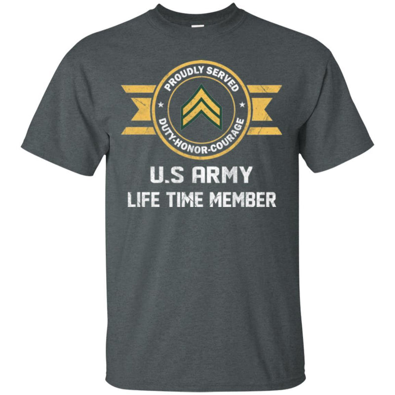 Life Time Member - US Army E-4 Corporal E4 CPL Noncommissioned Officer Ranks Men T Shirt On Front