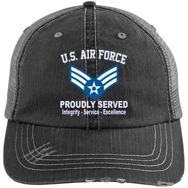 US Air Force E-4 Senior Airman SrA E4 Enlisted Airman Core Values Embroidered Distressed Unstructured Trucker Cap