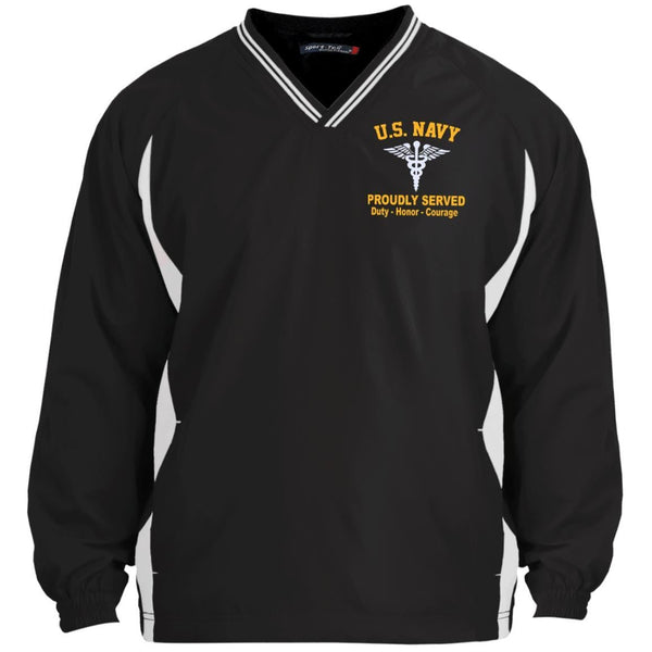 US Navy Hospital Corpsman HM Logo Embroidered Sport-Tek Tipped V-Neck Windshirt