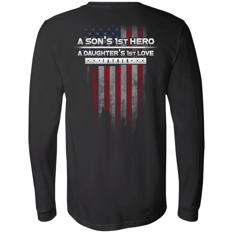 Father's Day - A Son's 1st Hero A Daughter's 1st Love - Men Back T Shirt