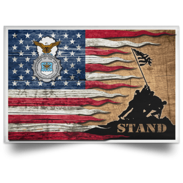 US Air Force Security Police Stand For The Flag Satin Landscape Poster