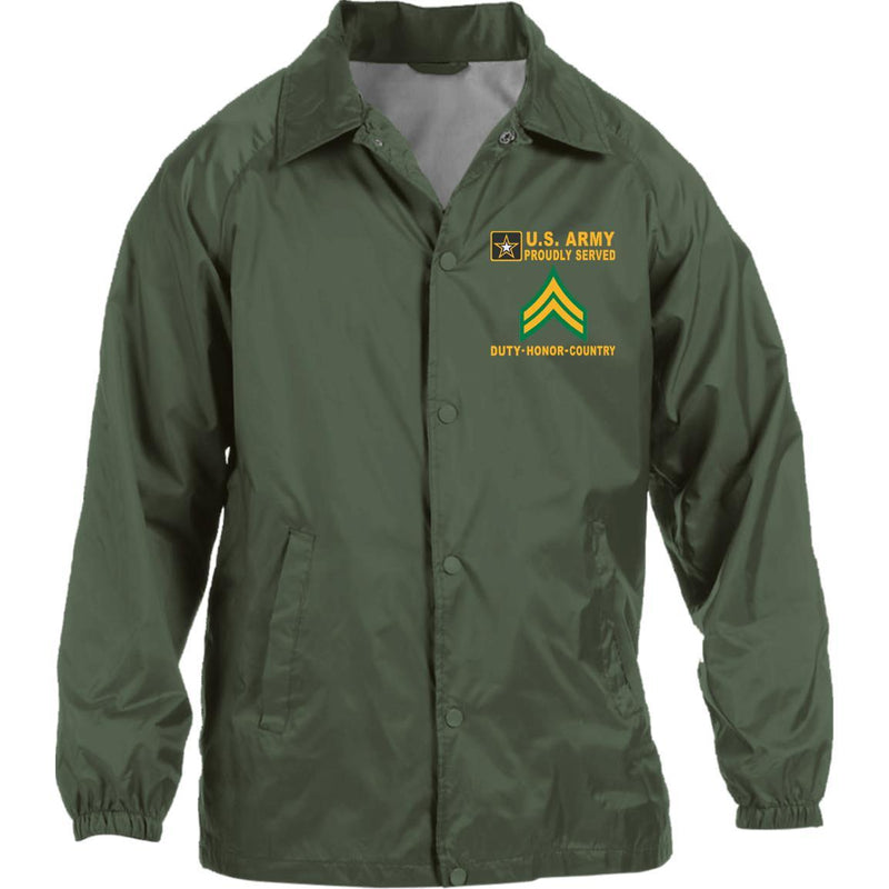 US Army E-4 Corporal E4 CPL - Proudly Served-D04 Embroidered Sport-Tek Jersey-Lined Jacket