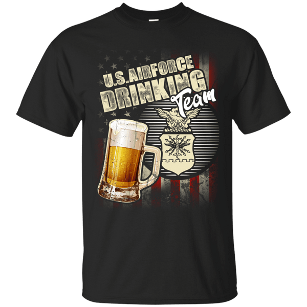 US Air Force Drinking Bear Team Front T Shirts