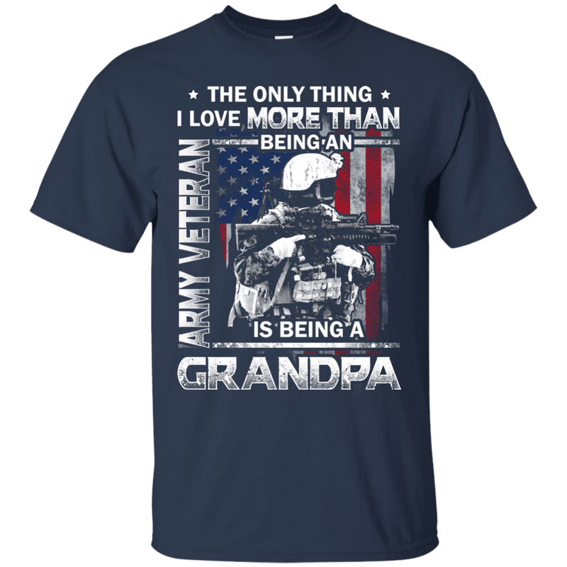 Army Veteran I love Being A Grandpa Men Front T Shirts