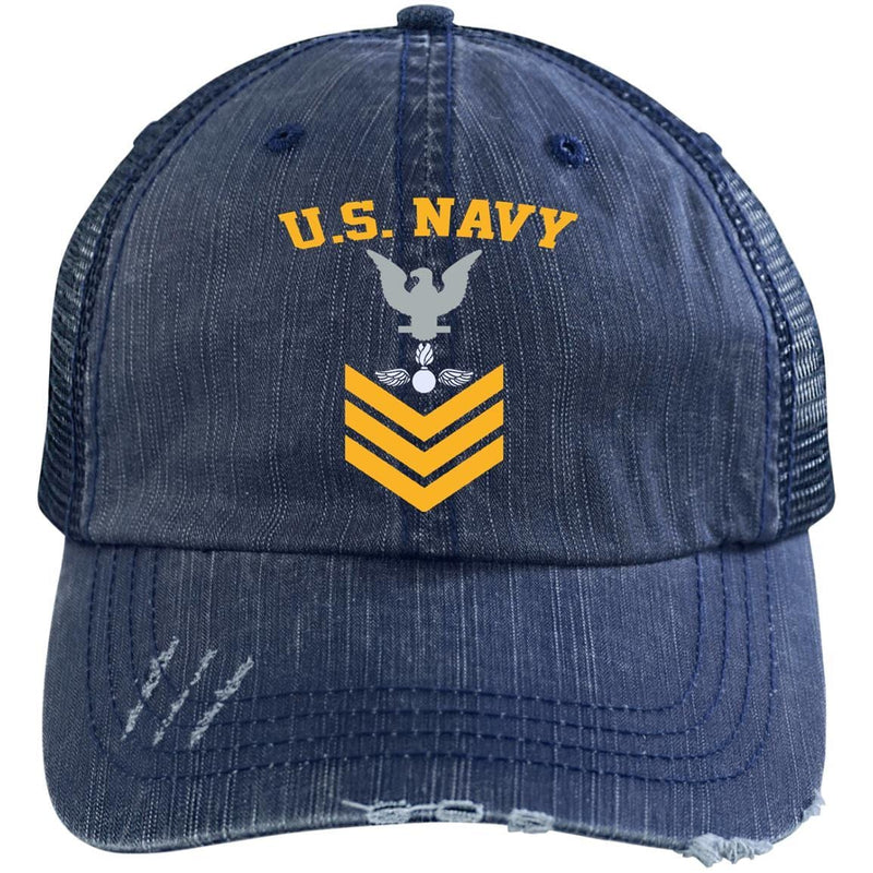 US Navy Aviation Ordnanceman AO E-6 Rating Badges Gold Stripe Embroidered Distressed Unstructured Trucker Cap