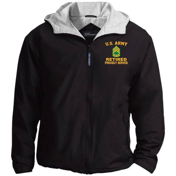 US Army E-7 Sergeant First Class E7 SFC Noncommissioned Officer Ranks Retired Embroidered Port Authority® Hoodie Team Jacket