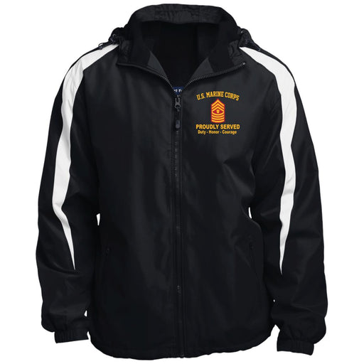 USMC E-9 Master Gunnery Sergeant E9 MGySg Staff Noncommissioned Officer Proudly Served JST81 Sport-Tek Fleece Lined Colorblocked Hooded Jacket
