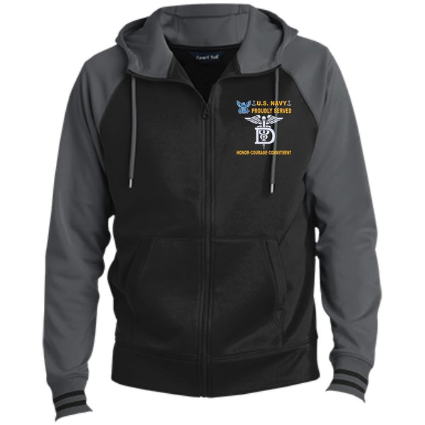 US Navy Dental Technician DT - Proudly Served-D04 Embroidered Sport-Tek® Full-Zip Hooded Jacket
