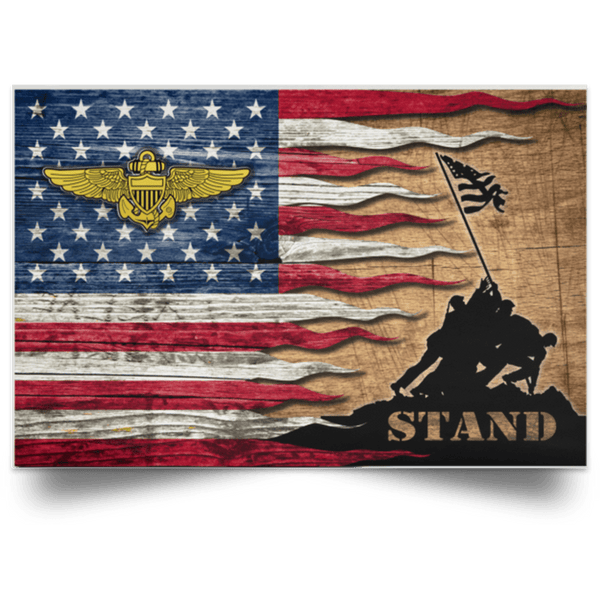 US Navy Naval Aviator Stand For The Flag Satin Landscape Poster