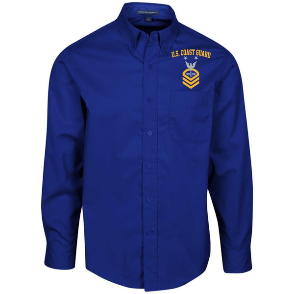 US Coast Guard Aviation Maintenance Technician AMT.png E-9 Rating Badges Embroidered Port Authority Men's LS Dress Shirt