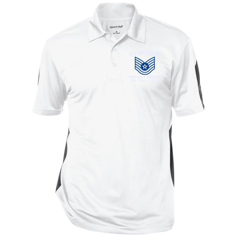 US AIR FORCE E-6 TECHNICAL SERGEANT TSGT E6 NONCOMMISSIONED OFFICER RANKS Embroidered Performance Polo Shirt