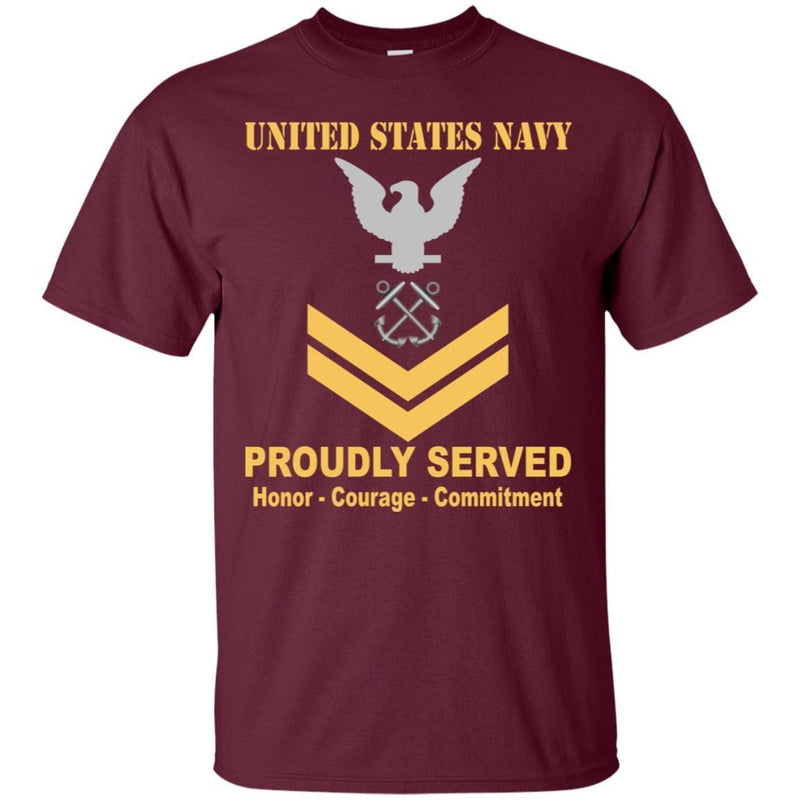 U.S Navy Boatswain's Mate Navy BM E-5 Rating Badges Proudly Served T-Shirt For Men On Front