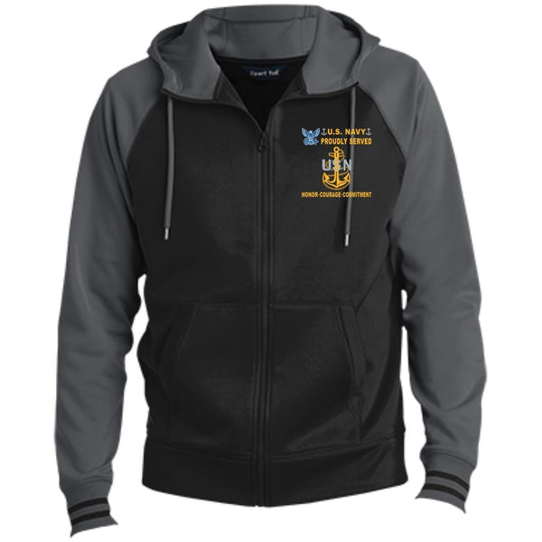 US Navy E-7 Chief Petty Officer E7 CPO Senior Noncommissioned Officer Collar Device Proudly Served-D04 Embroidered Sport-Tek® Full-Zip Hooded Jacket