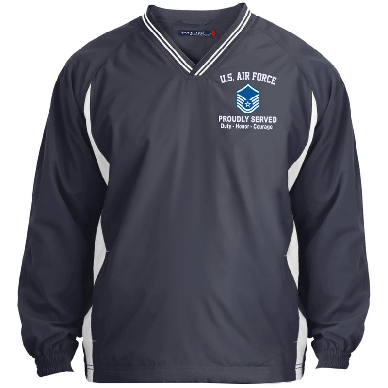 US Air Force E-7 Master Sergeant MSgt E7 Noncommissioned Officer Proudly Served Embroidered Sport-Tek Tipped V-Neck Windshirt