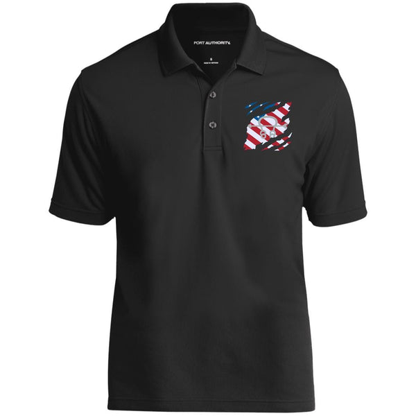 US Navy Sonar Technician ST And American Flag At Heart Embroidered Polo Shirt