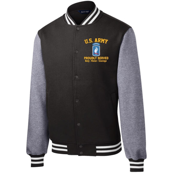 US Army 173rd Airborne Embroidered Sport-Tek Fleece Letterman Jacket