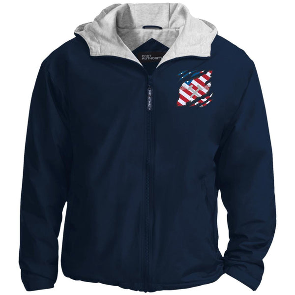 US Navy Aviation Structural Mechanic AM And American Flag At Heart Embroidered Team Jacket