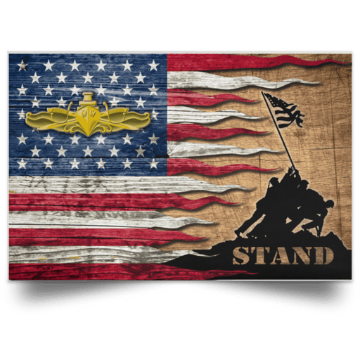 US Navy Surface Warfare Officer Stand For The Flag Satin Landscape Poster