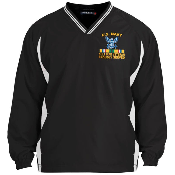 US Navy Gulf War Veteran Proudly Served Embroidered Sport-Tek Tipped V-Neck Windshirt
