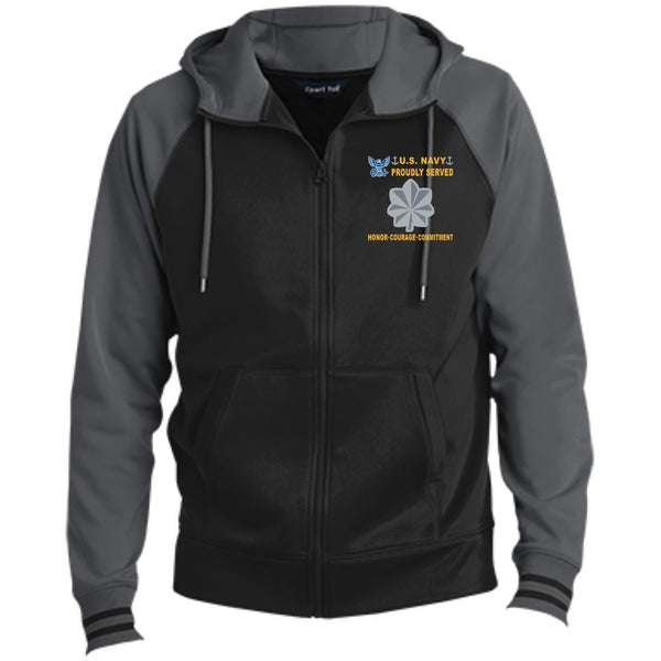 US Navy O-5 Commander O5 CDR Senior Officer Proudly Served-D04 Embroidered Sport-Tek® Full-Zip Hooded Jacket