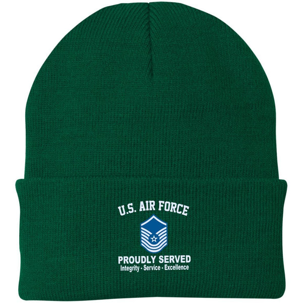 US Air Force E-8 Senior Master Sergeant SMSgt E8 Old Style Core Values Embroidered Port Authority Knit Cap