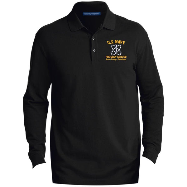 US Navy Electronics Warfare Technician EW Logo Embroidered LS Polo Shirt - Colorblock 1/2 Zip