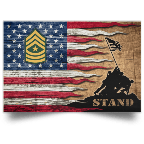 US Army E-9 Sergeant Major E9 SGM Noncommissioned Officer Stand For The Flag Satin Landscape Poster