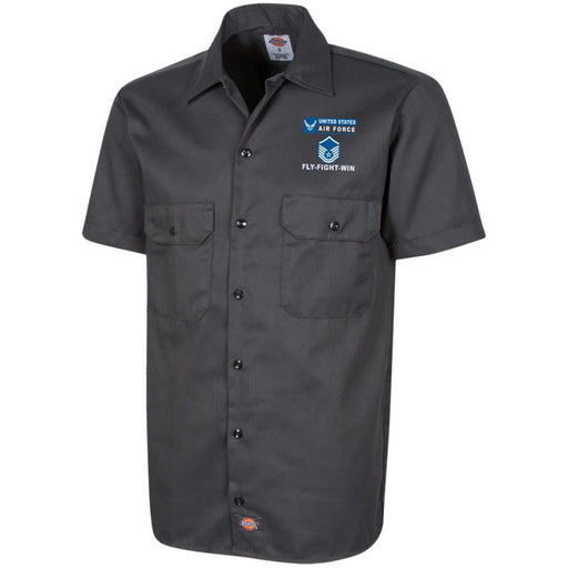 US Air Force E-7 Master Sergeant MSgt E7 Noncommissioned Officer- Fly Flight Win Embroidered Dress Shirt - Workshirt